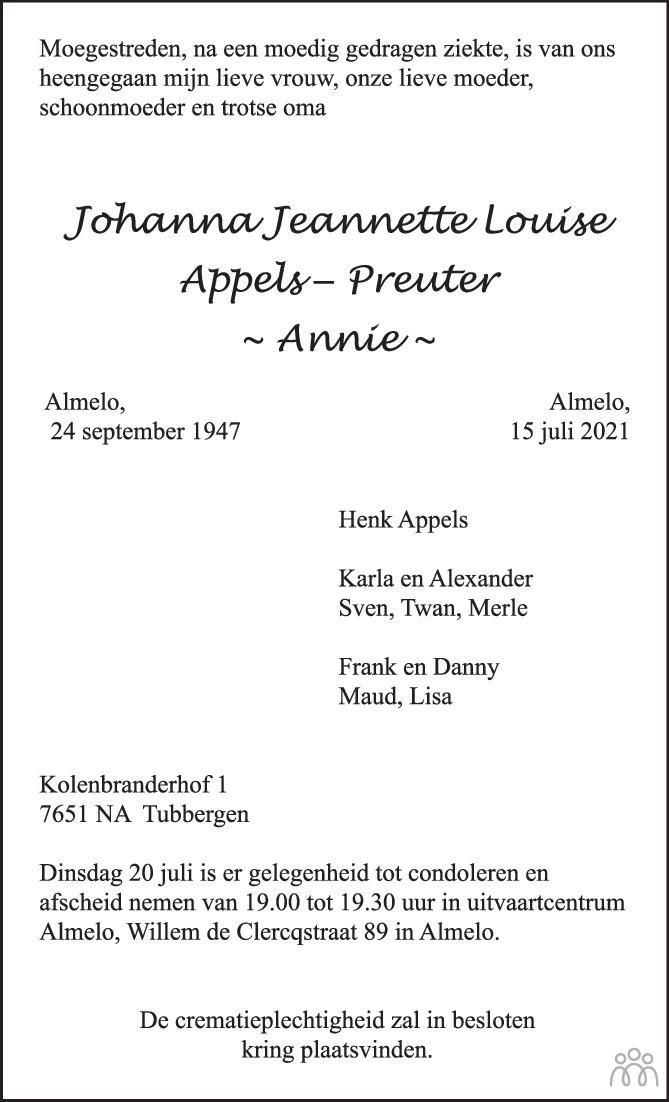 Overlijdensbericht van Johanna Jeannette Louise (Annie) Appels-Preuter in Tubantia