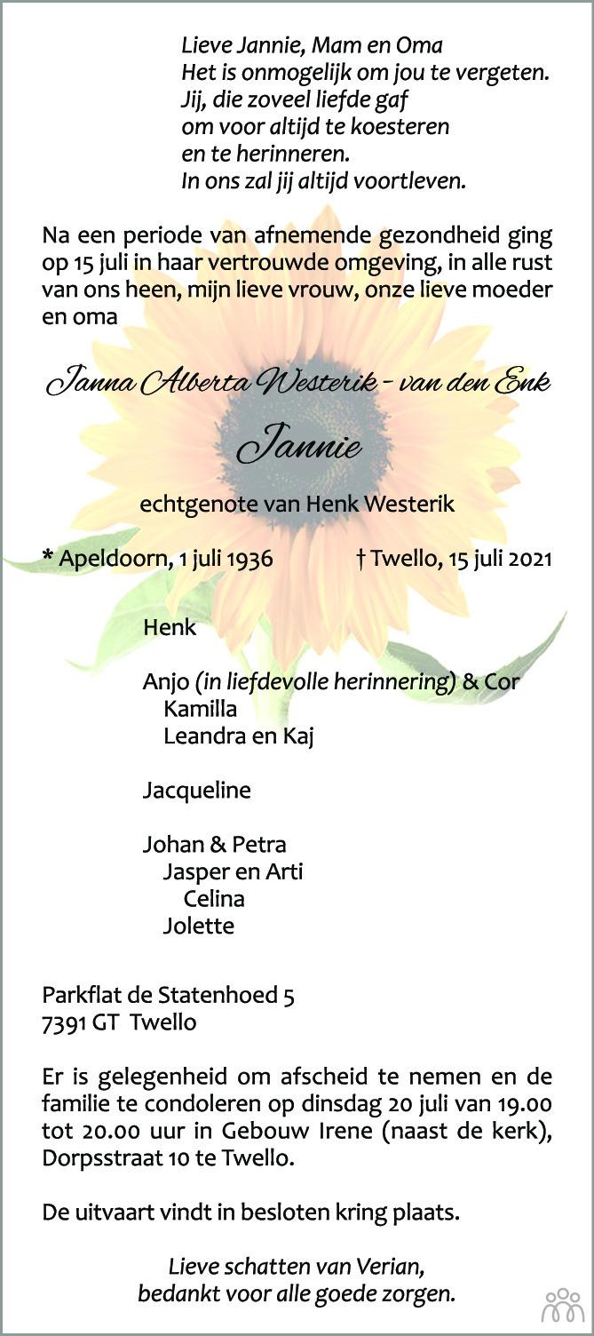 Overlijdensbericht van Janna Alberta (Jannie) Westerik-van den Enk in de Stentor