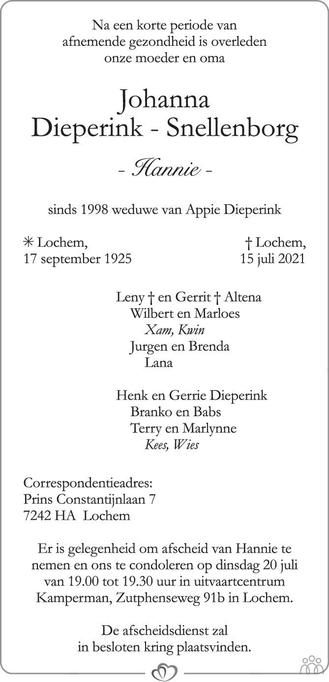 Overlijdensbericht van Johanna (Hannie) Dieperink-Snellenborg in de Stentor