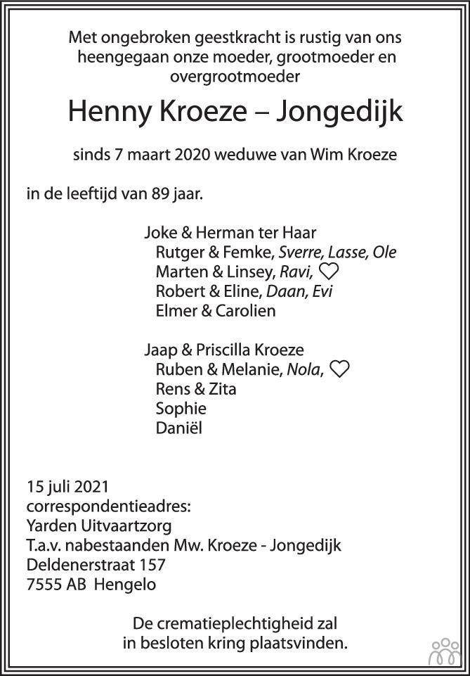 Overlijdensbericht van Henny Kroeze-Jongedijk in Tubantia