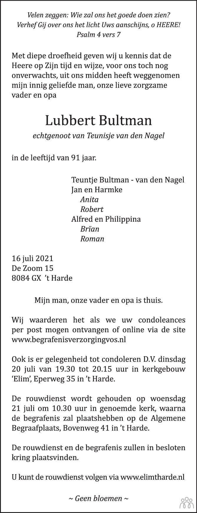 Overlijdensbericht van Lubbert Bultman in Huis aan Huis Elburg Oldebroek Nunspeet