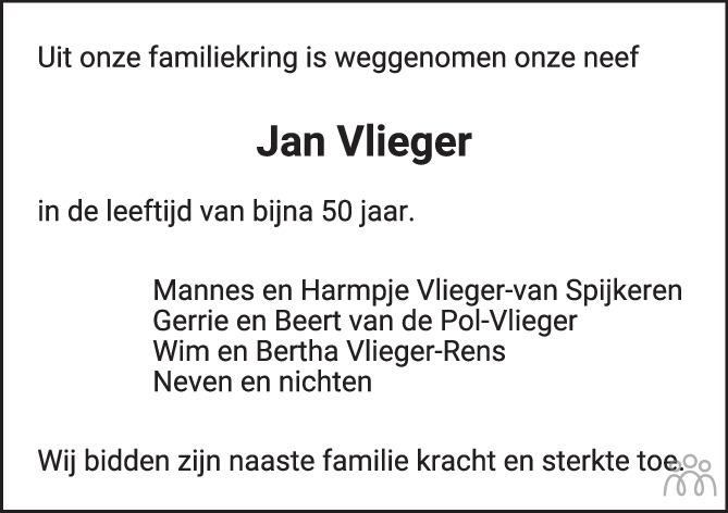 Overlijdensbericht van Jan Hendrik Vlieger in Huis aan Huis Elburg Oldebroek Nunspeet