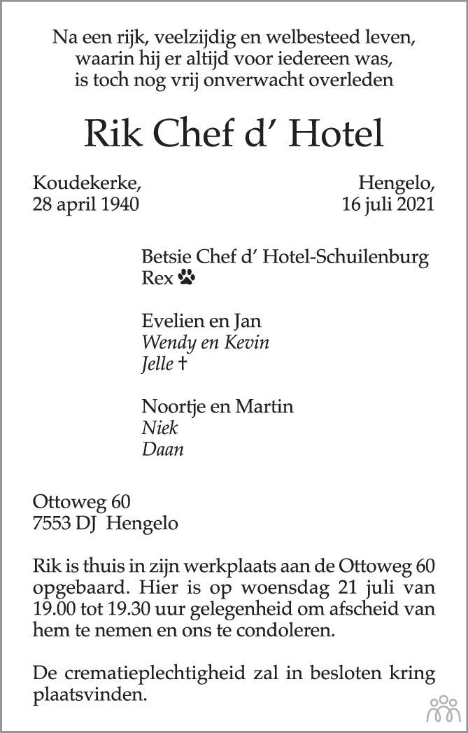 Overlijdensbericht van Rik Chef d' Hotel in Tubantia