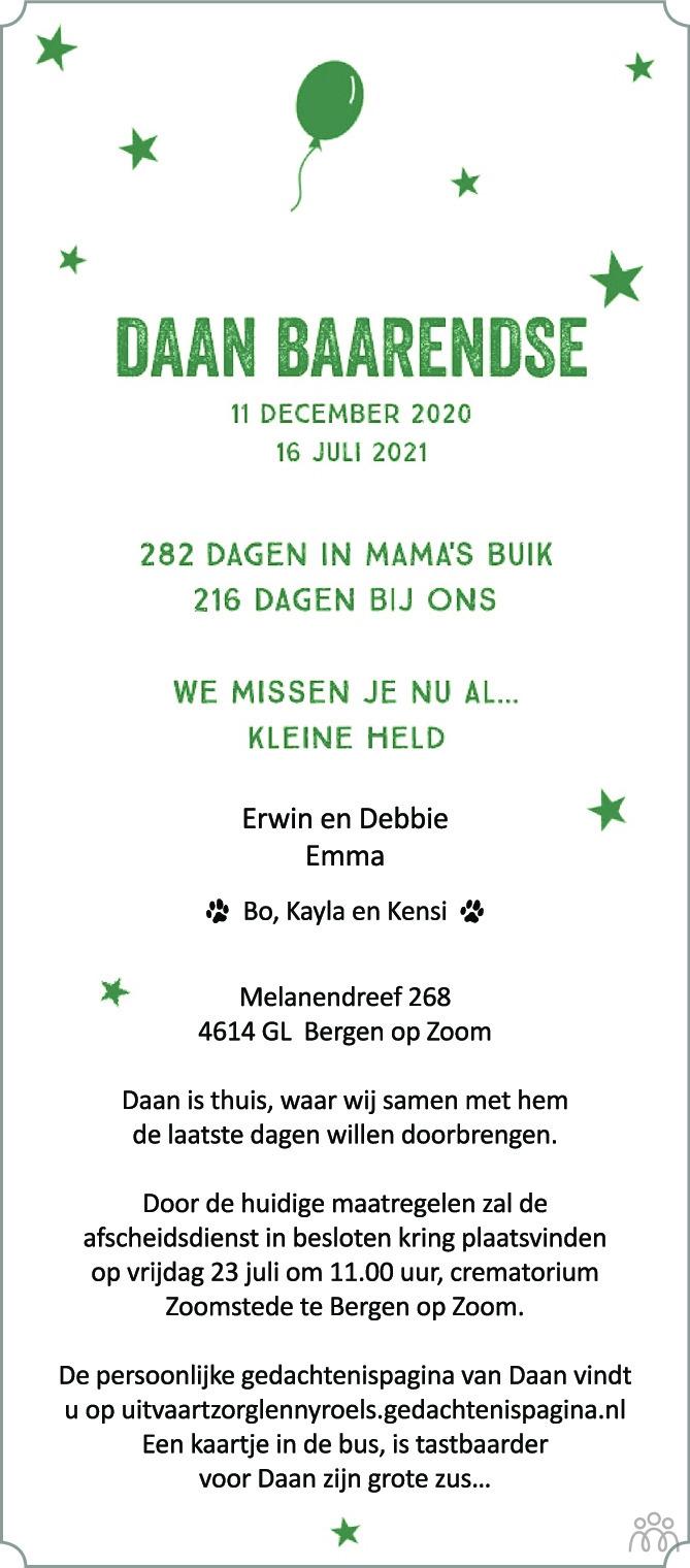 Overlijdensbericht van Daan Baarendse in BN DeStem