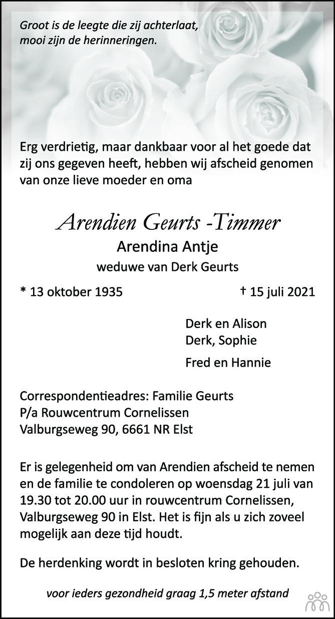 Overlijdensbericht van Arendien (Arendina Antje) Geurts-Timmer in de Gelderlander