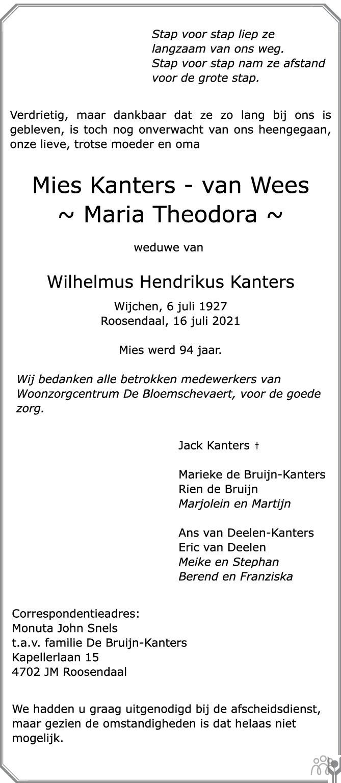 Overlijdensbericht van Mies (Maria Theodora) Kanters-van Wees in BN DeStem