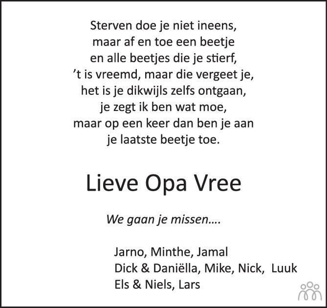 Overlijdensbericht van Jan Bastiaan in Huis aan Huis Elburg Oldebroek Nunspeet