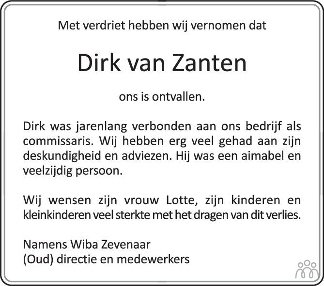 Overlijdensbericht van Dirk Hermanus van Zanten in Montfertland Journaal