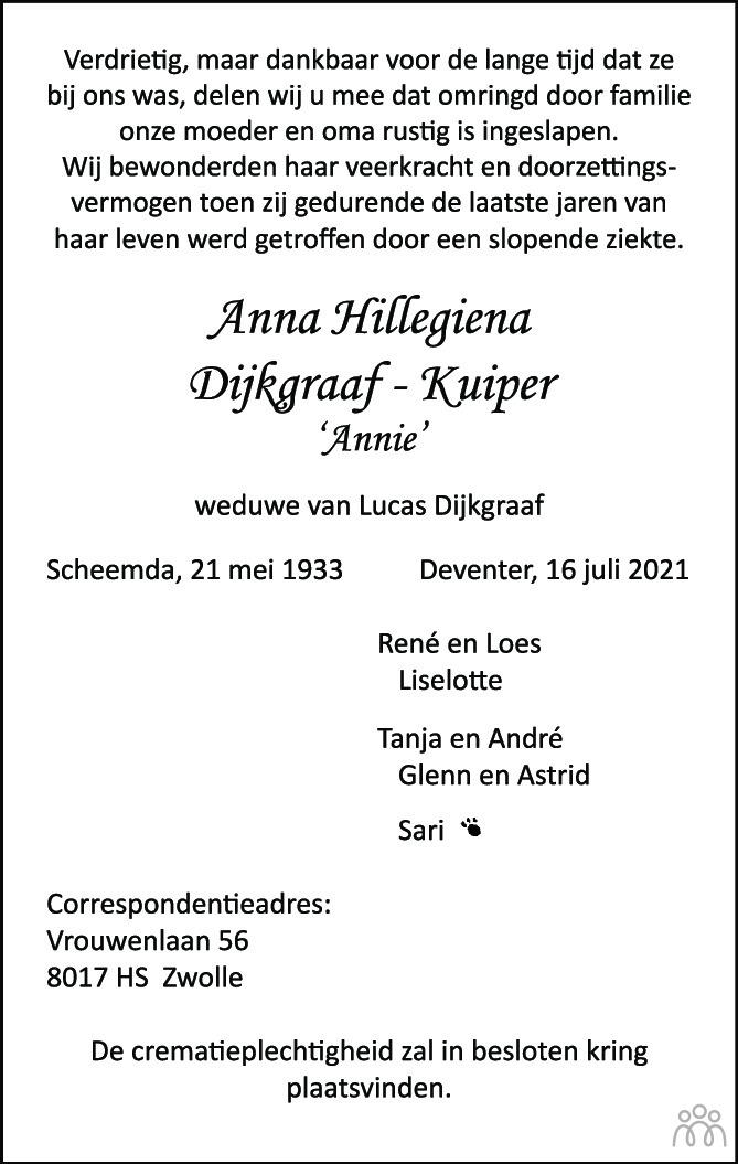 Overlijdensbericht van Anna Hillegiena (Annie) Dijkgraaf-Kuijper in de Stentor