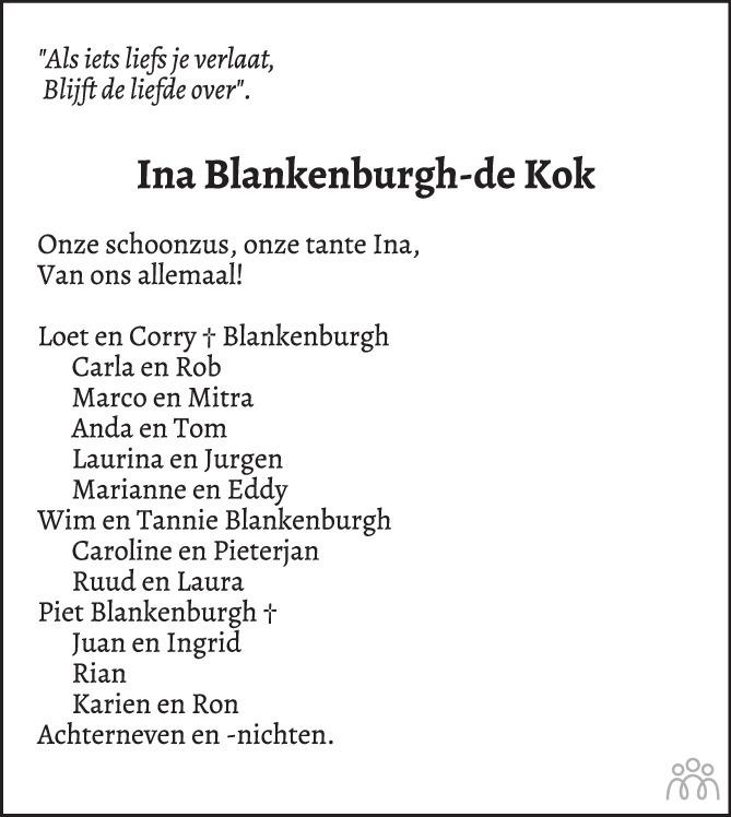 Overlijdensbericht van Wilhelmina (Ina) Blankenburgh-de Kok in PZC Provinciale Zeeuwse Courant