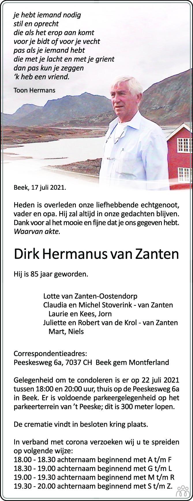 Overlijdensbericht van Dirk Hermanus van Zanten in de Gelderlander