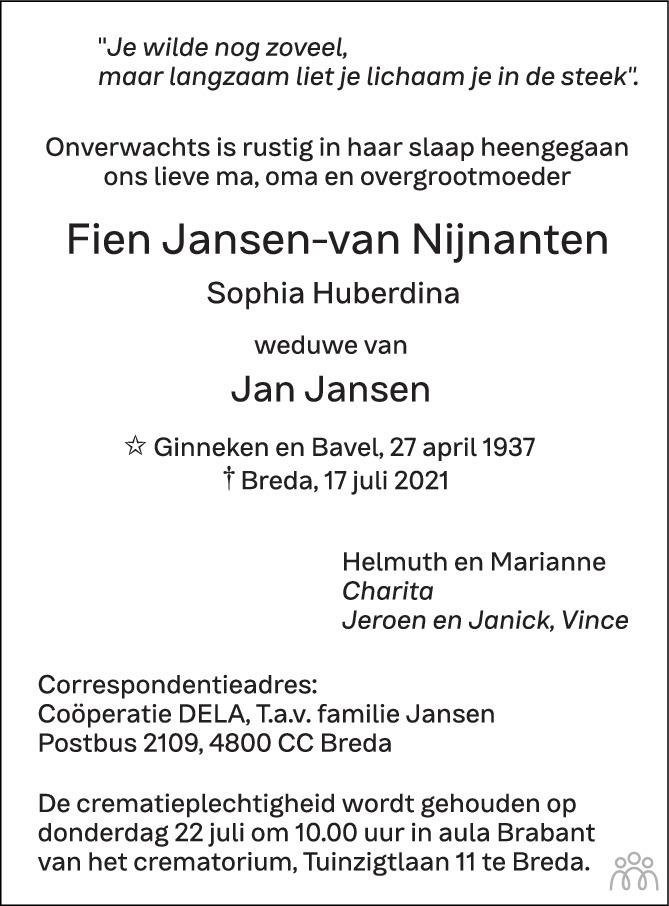 Overlijdensbericht van Fien (Sophia Huberdina) Jansen-van Nijnanten in BN DeStem