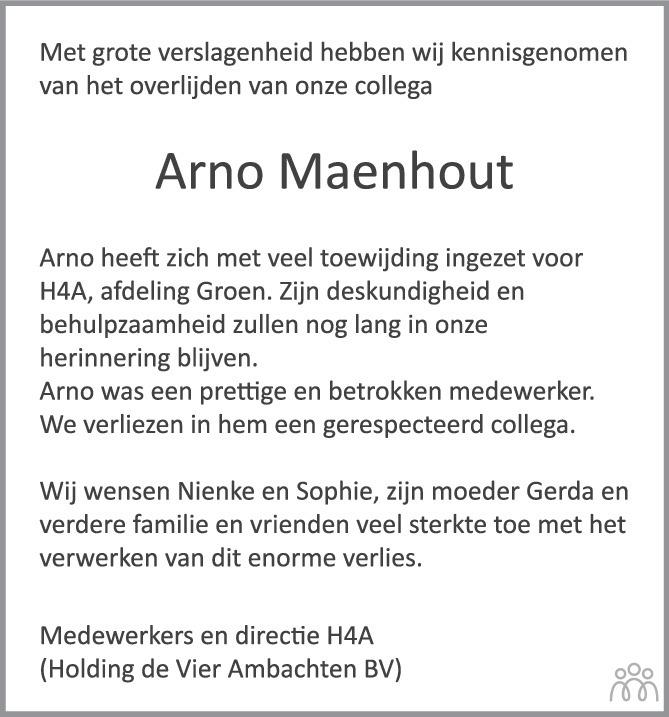 Overlijdensbericht van Arno Maria Maenhout in PZC Provinciale Zeeuwse Courant