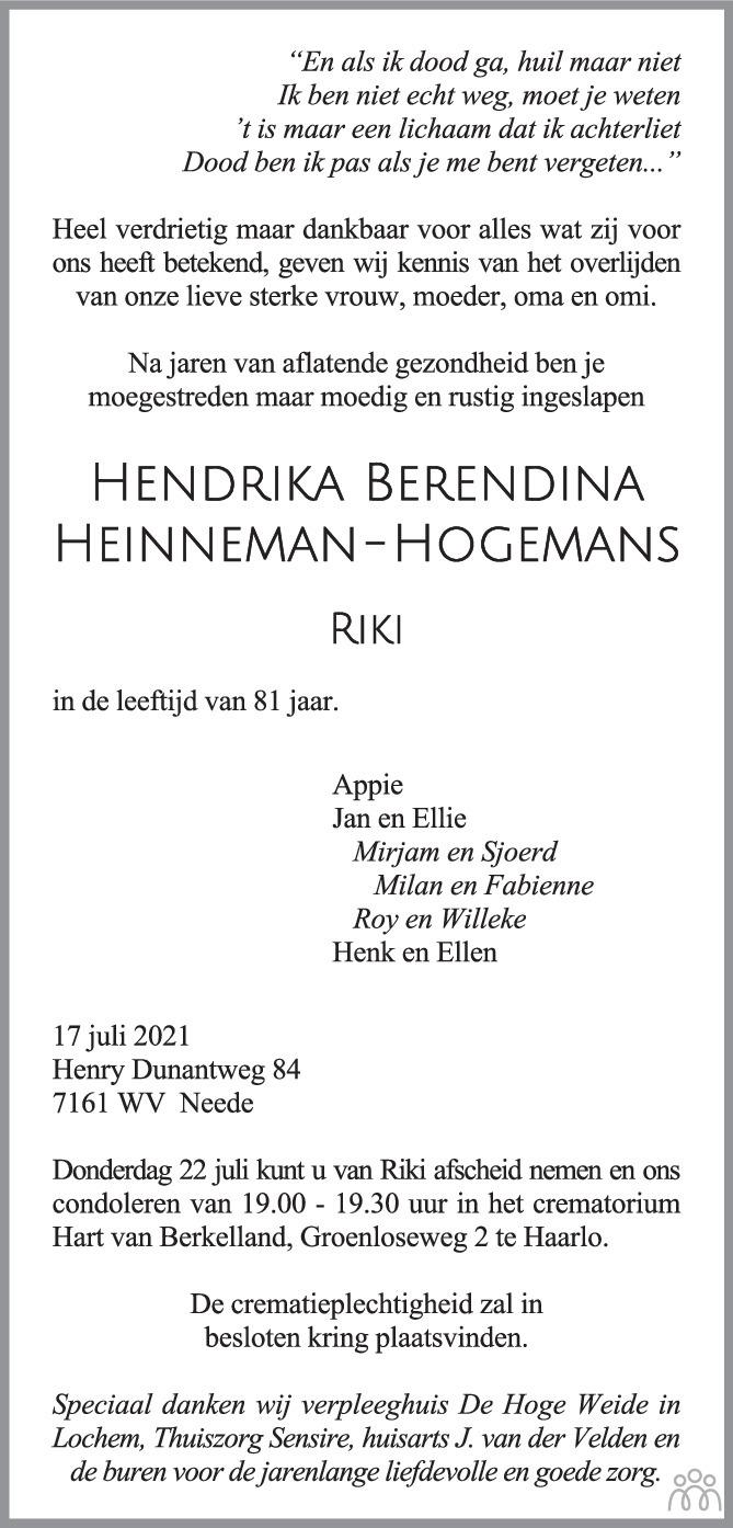 Overlijdensbericht van Hendrika Berendina (Riki) Heinneman-Hogemans in Tubantia