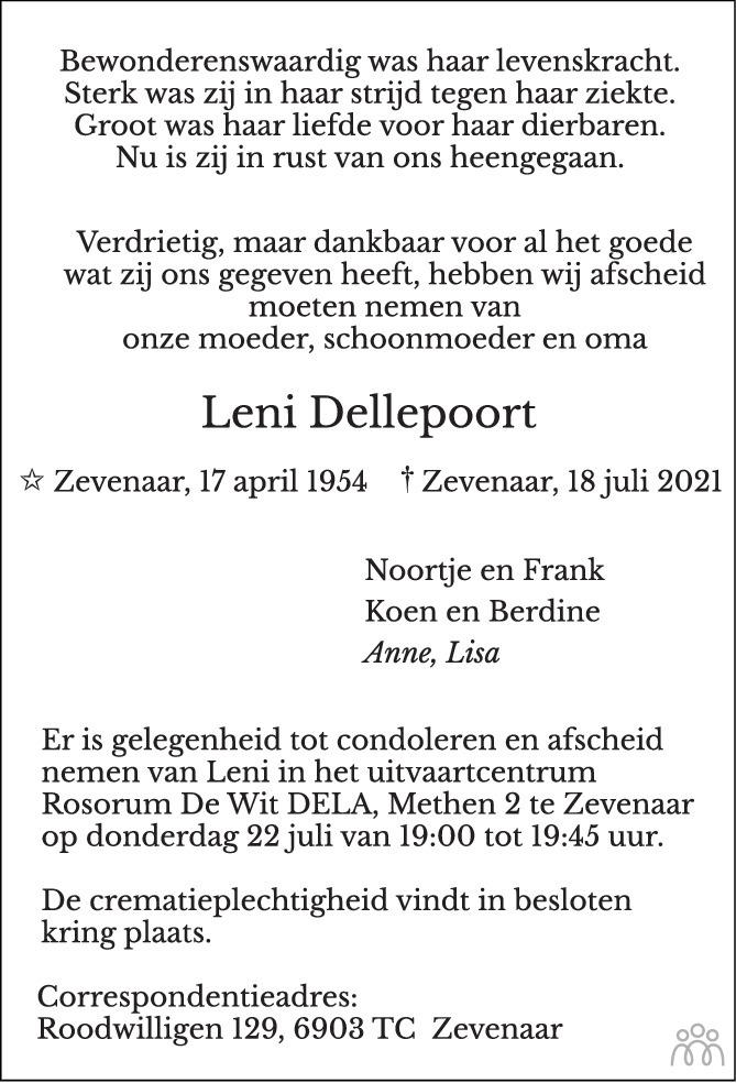 Overlijdensbericht van Leni Dellepoort in de Gelderlander
