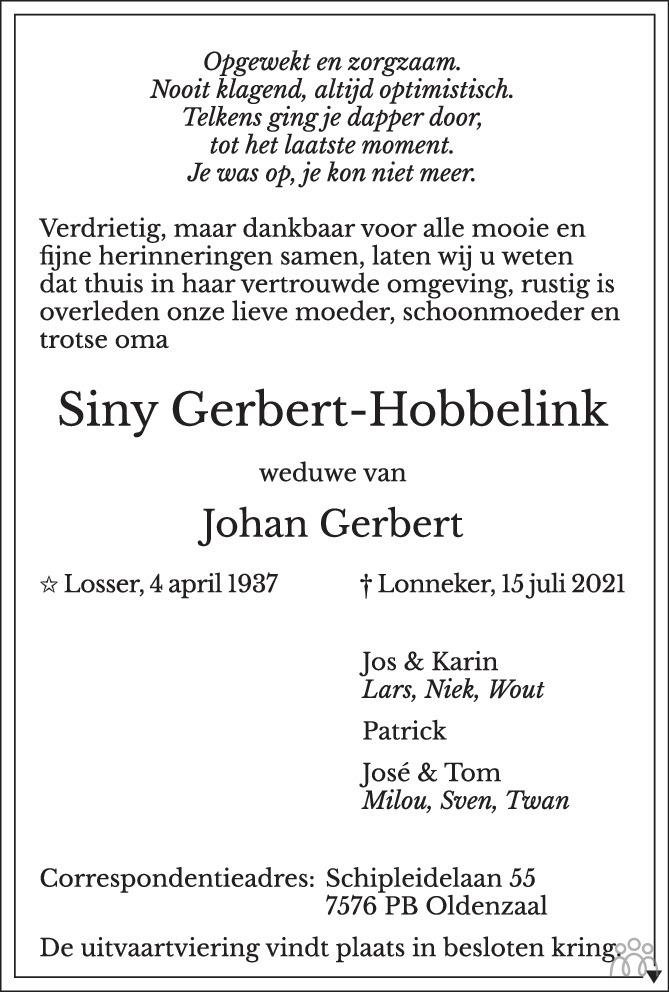 Overlijdensbericht van Siny Gerbert-Hobbelink in Tubantia