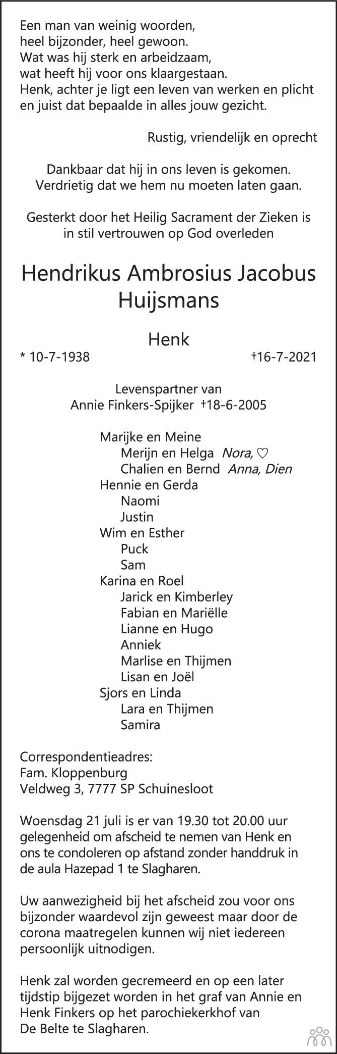 Overlijdensbericht van Hendrikus Ambrosius Jacobus (Henk) Huijsmans in de Stentor