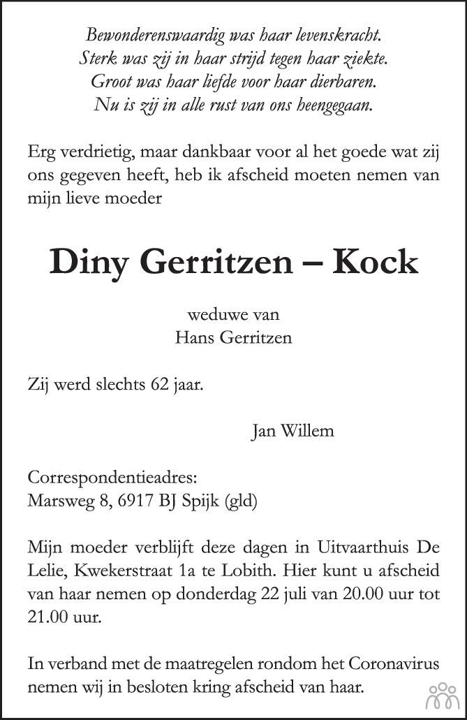 Overlijdensbericht van Diny Gerritzen-Kock in de Gelderlander
