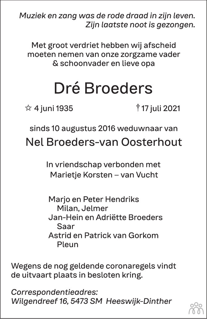 Overlijdensbericht van Dré Broeders in Brabants Dagblad