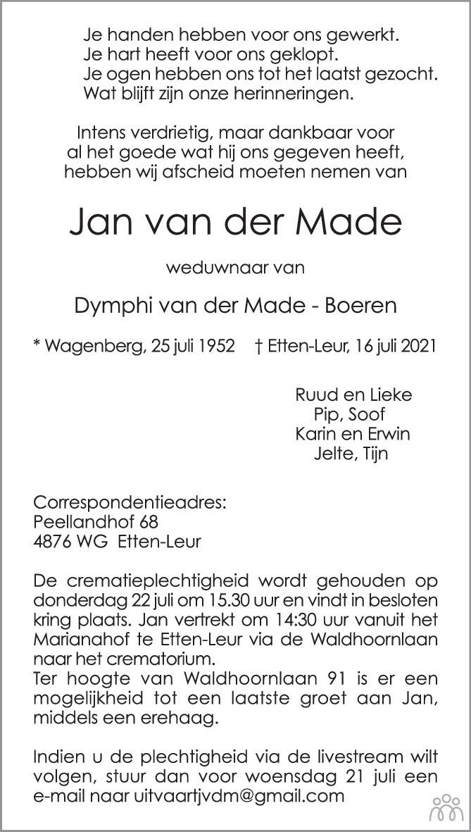 Overlijdensbericht van Jan van der Made in BN DeStem