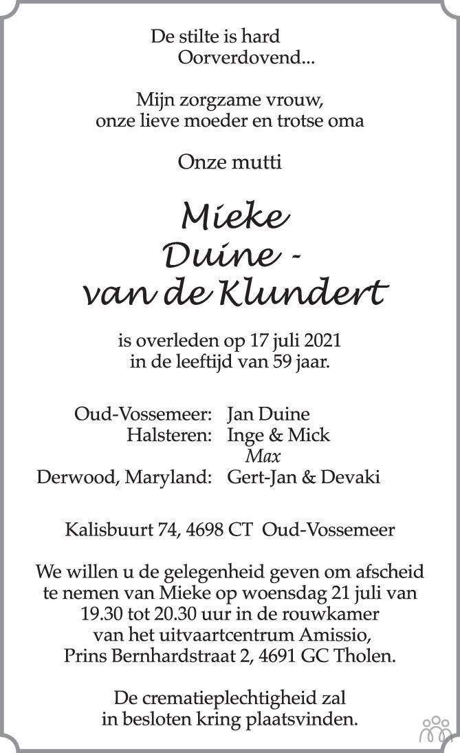 Overlijdensbericht van Mieke Duine-van de Klundert in BN DeStem