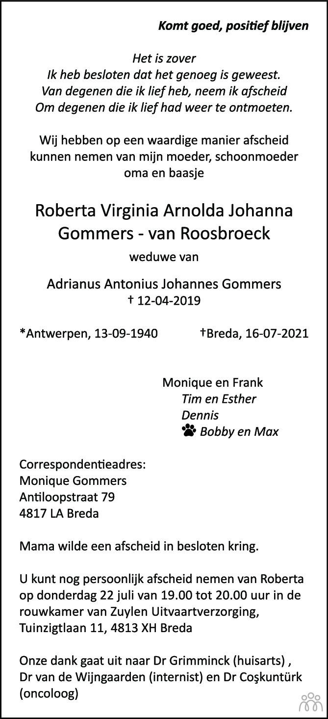Overlijdensbericht van Roberta Virginia Arnolda Johanna Gommers-van Roosbroeck in BN DeStem