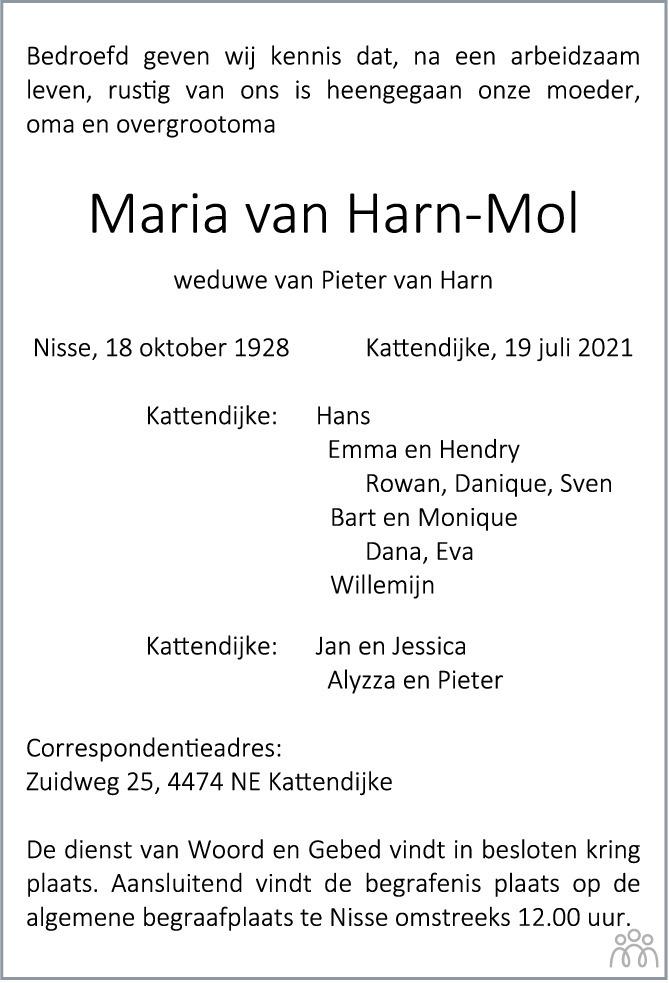 Overlijdensbericht van Maria van Harn-Mol in PZC Provinciale Zeeuwse Courant