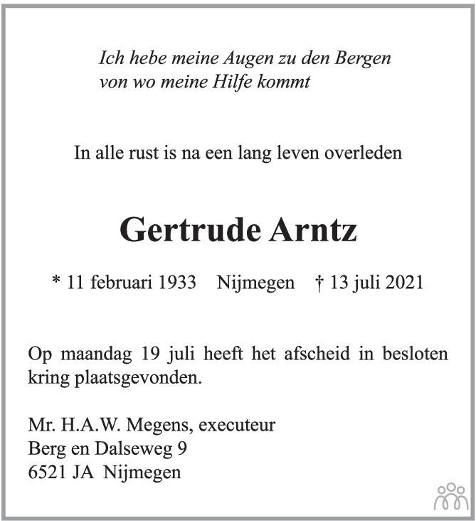 Overlijdensbericht van Gertrude Arntz in de Gelderlander