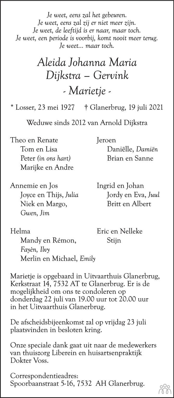 Overlijdensbericht van Aleida Johanna Maria (Marietje) Dijkstra-Gervink in Tubantia