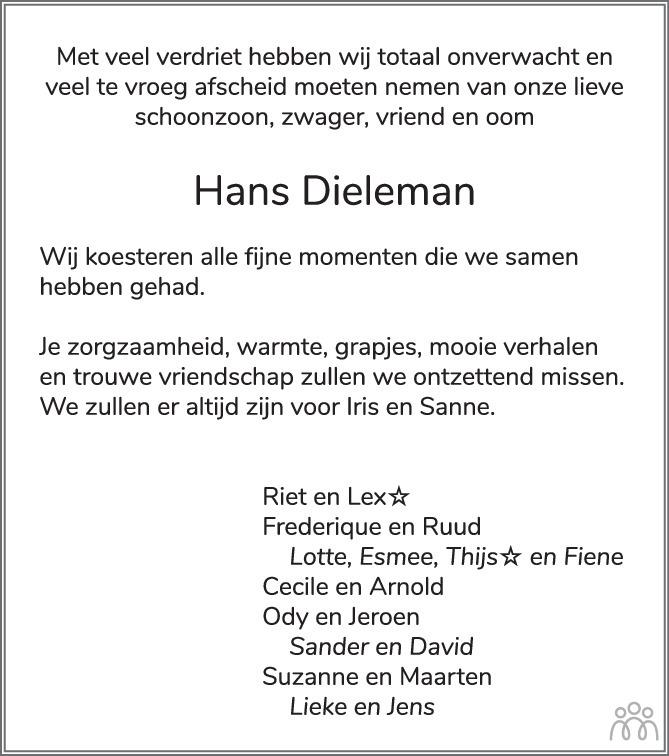 Overlijdensbericht van Hans Dieleman in PZC Provinciale Zeeuwse Courant