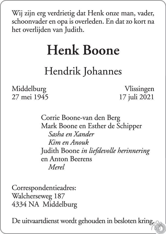 Overlijdensbericht van Henk (Hendrik Johannes) Boone in PZC Provinciale Zeeuwse Courant
