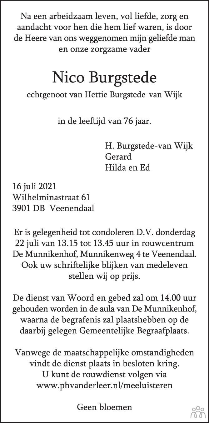 Overlijdensbericht van Nico Burgstede in de Rijnpost