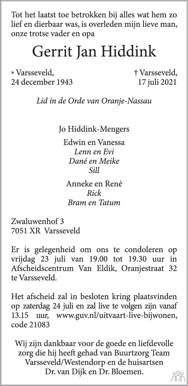 Overlijdensbericht van Gerrit Jan Hiddink in Oude IJsselstreek Vizier