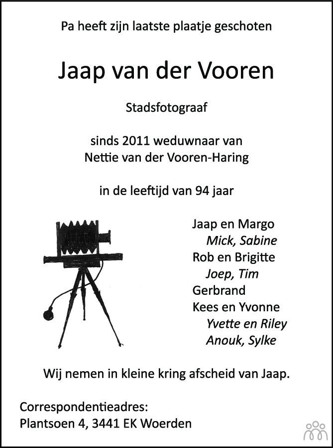 Overlijdensbericht van Jaap van der Vooren in Woerdense Courant
