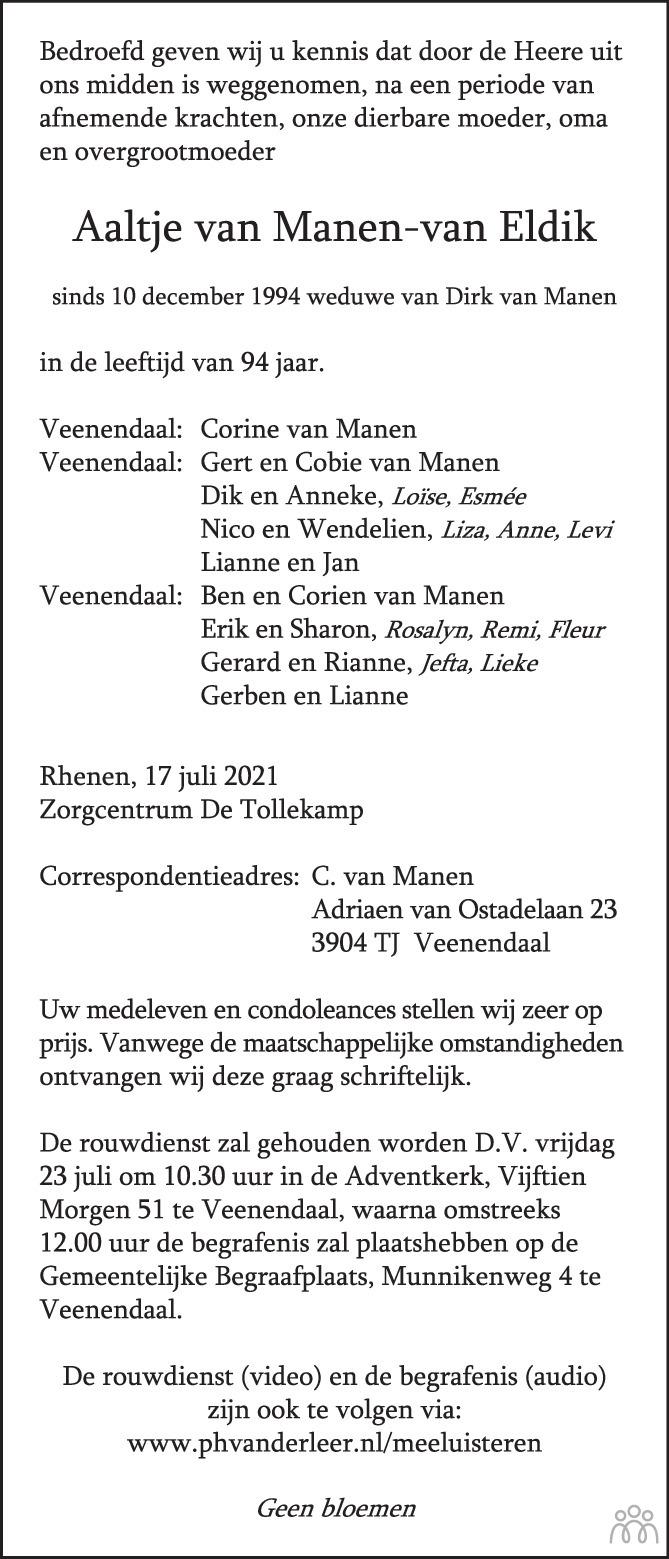 Overlijdensbericht van Aaltje van Manen-van Eldik in de Rijnpost