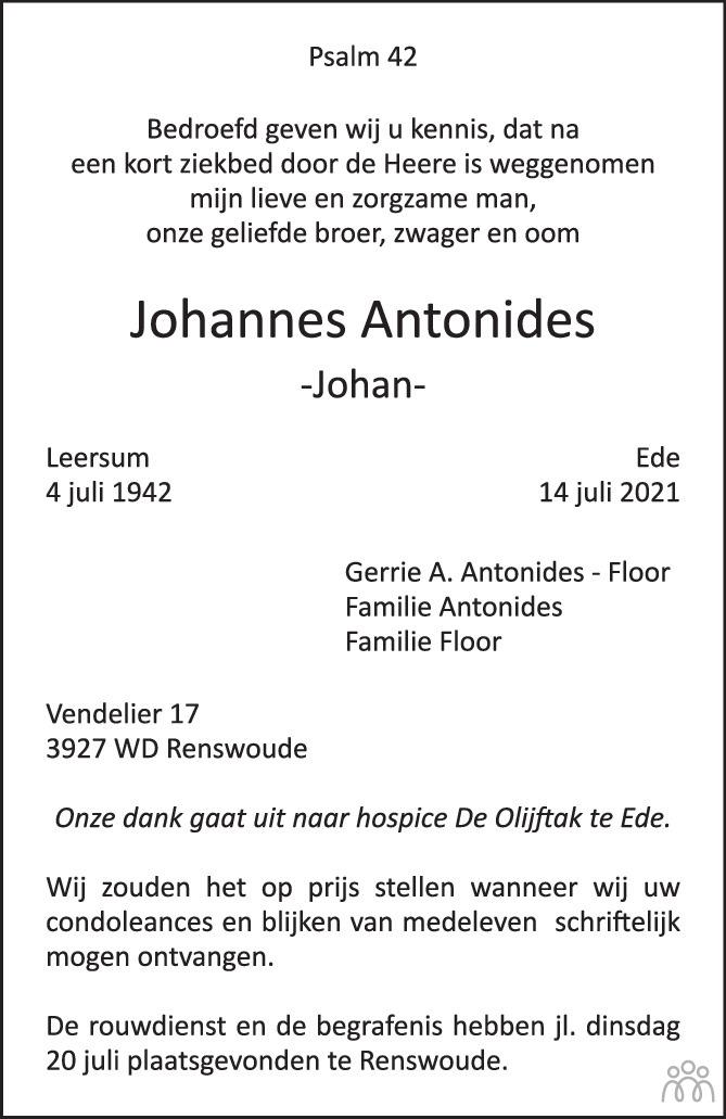 Overlijdensbericht van Johannes (Johan) Antonides in de Rijnpost