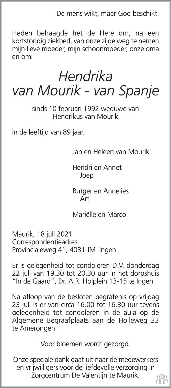 Overlijdensbericht van Hendrika van Mourik-van Spanje in de Rijnpost