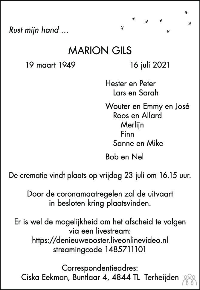 Overlijdensbericht van Marion Gils in Het Parool