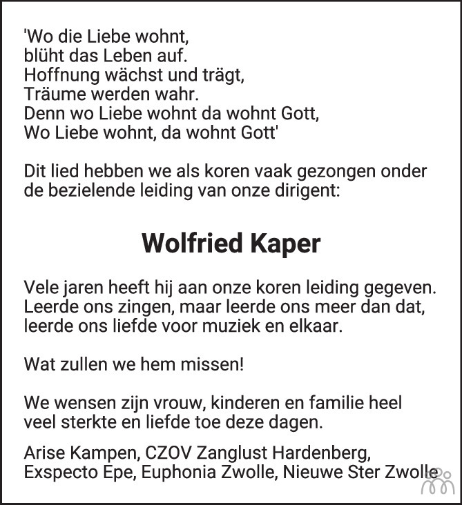 Overlijdensbericht van Wolfried Kaper in de Stentor