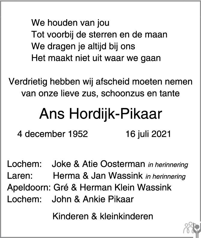 Overlijdensbericht van Johanna (Ans) Hordijk-Pikaar in de Stentor