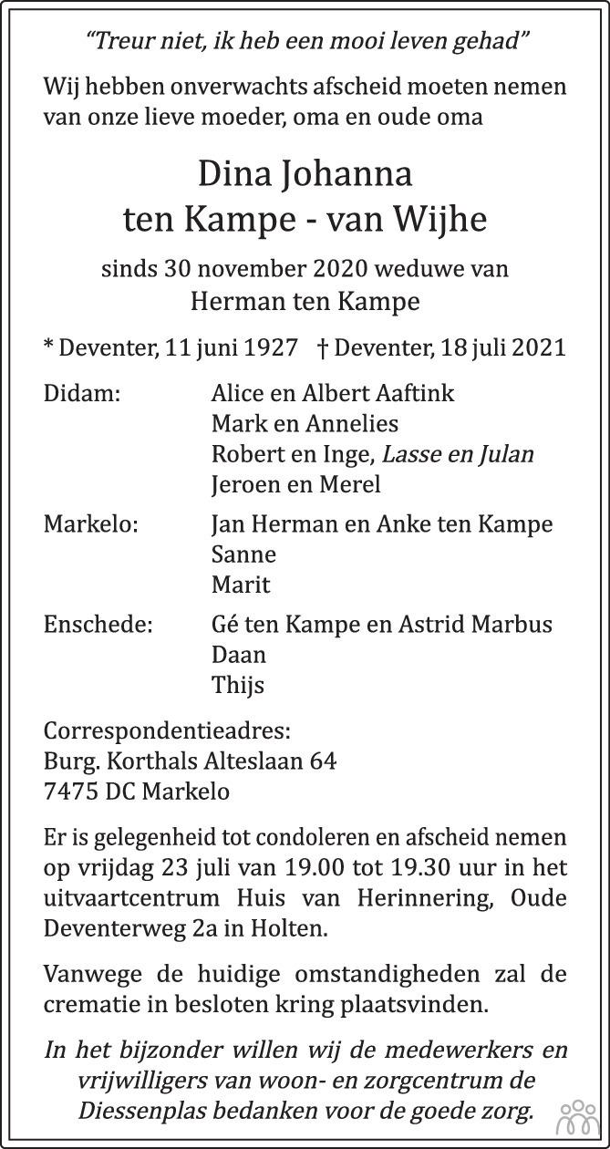 Overlijdensbericht van Dina Johanna ten Kampe-van Wijhe in de Stentor