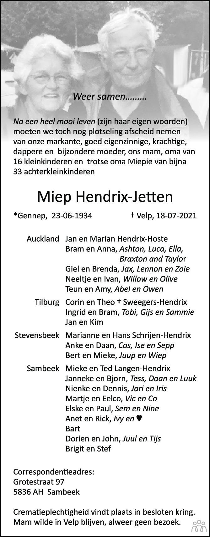 Overlijdensbericht van Miep Hendrix-Jetten in de Gelderlander
