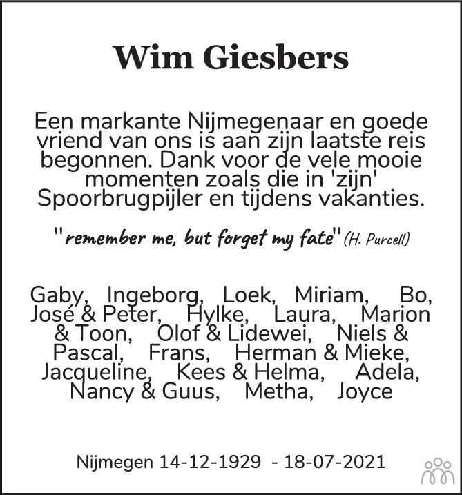 Overlijdensbericht van Wim Giesbers in de Gelderlander