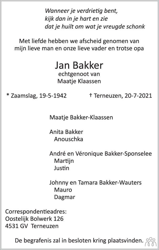 Overlijdensbericht van Jan Bakker in PZC Provinciale Zeeuwse Courant
