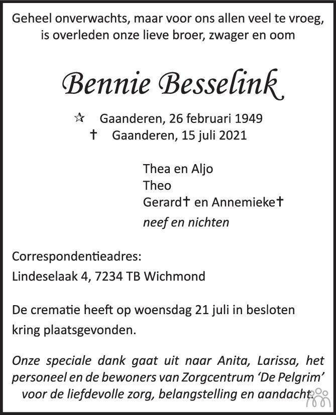 Overlijdensbericht van Bennie Besselink in de Gelderlander