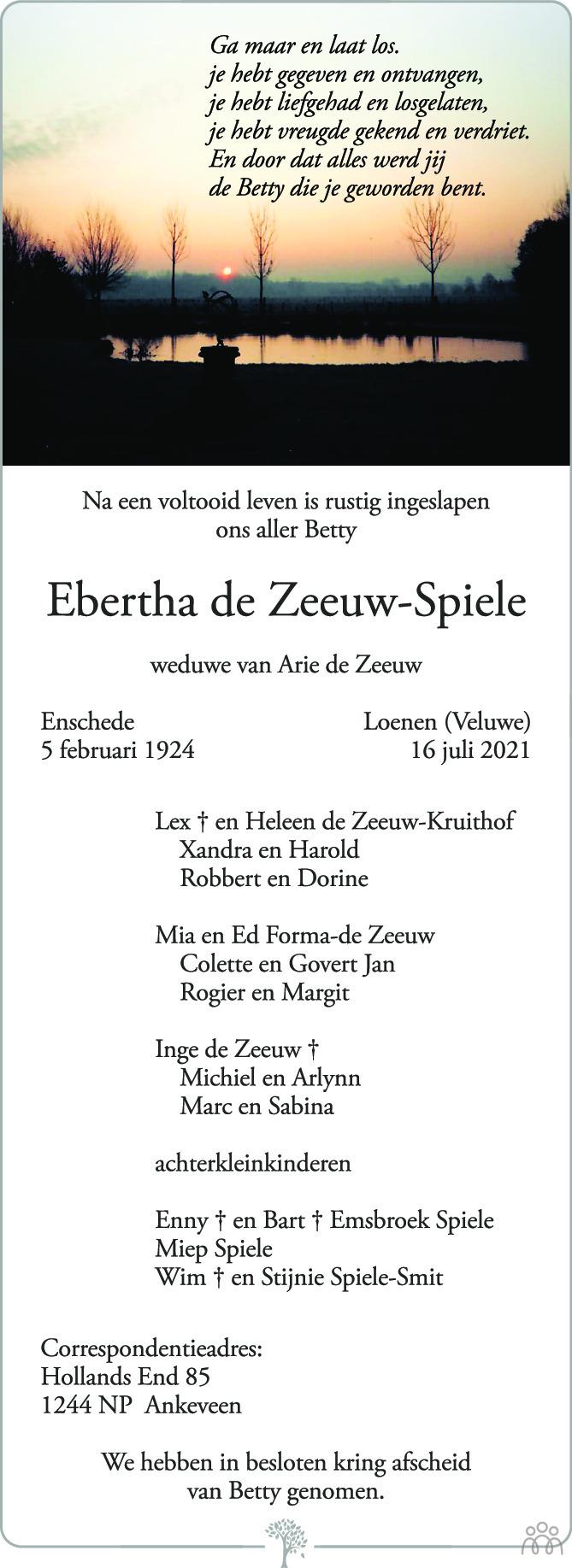 Overlijdensbericht van Ebertha de Zeeuw-Spiele in de Stentor
