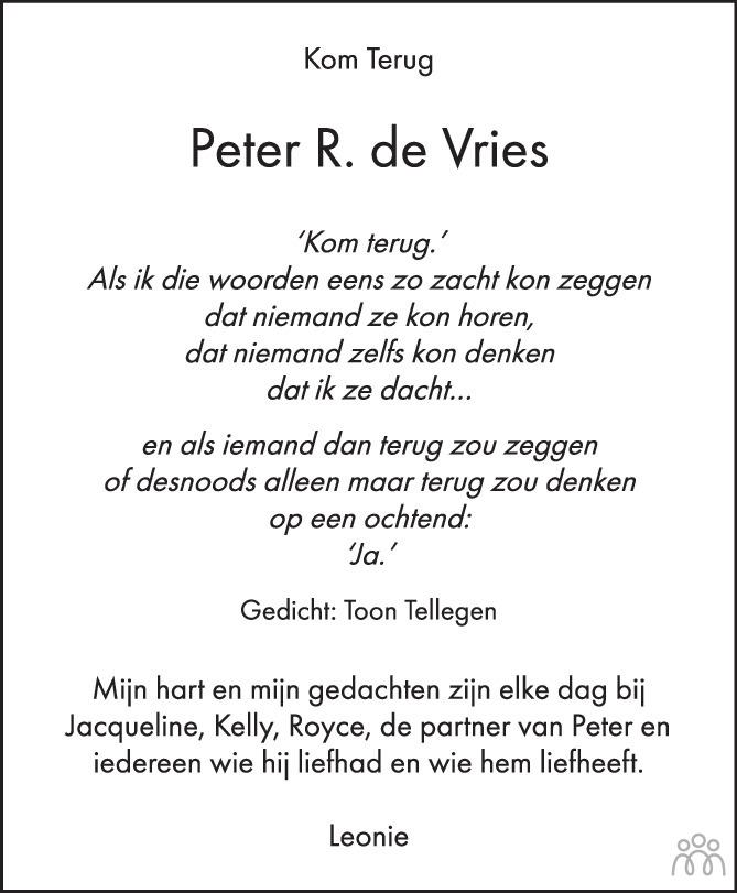 Overlijdensbericht van Peter R. de Vries in Het Parool