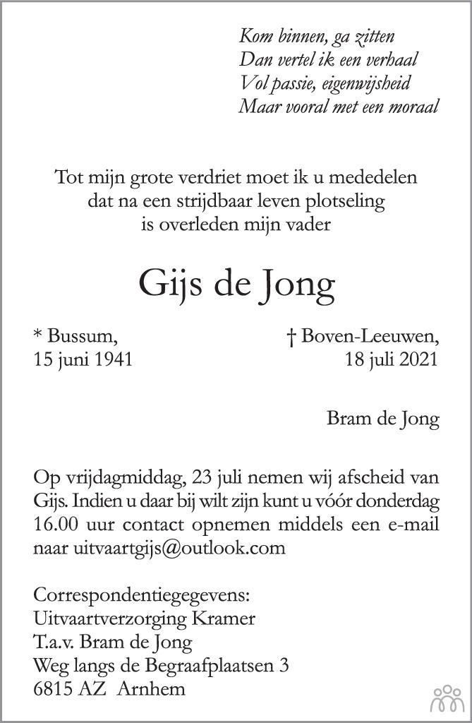 Overlijdensbericht van Gijs de Jong in de Gelderlander