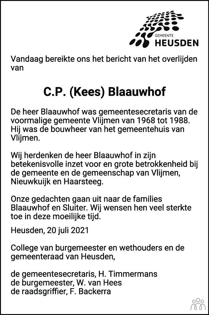 Overlijdensbericht van Cornelis Petrus (Kees) Blaauwhof in Brabants Dagblad