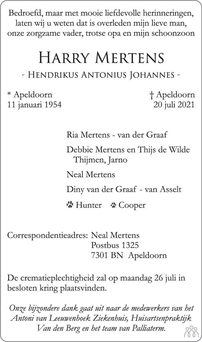 Overlijdensbericht van Harry (Hendrikus Antonius Johannes) Mertens in de Stentor